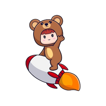 Desenho de uma linda garota usando fantasia de urso voando em um foguete para o céu