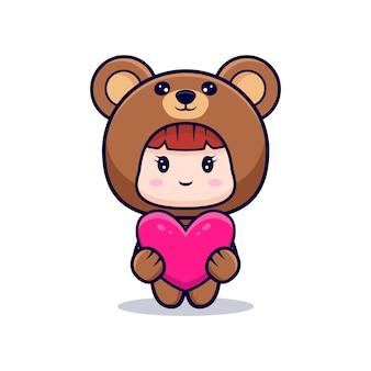 Desenho de uma linda garota vestindo fantasia de urso abraça um coração rosa como presente
