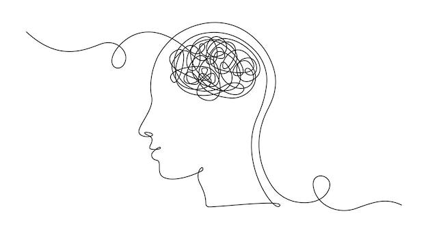 Desenho de uma linha contínua da cabeça de um homem com pensamentos confusos, preocupados com a má saúde mental.