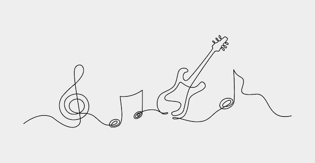 Desenho de uma linha contínua. ilustração abstrata do vetor do fundo da nota musical