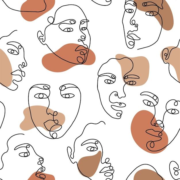 Desenho de uma linha de rosto abstrato com padrão de forma uniforme