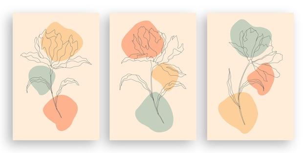 Desenho de uma linha ilustração minimalista de flores