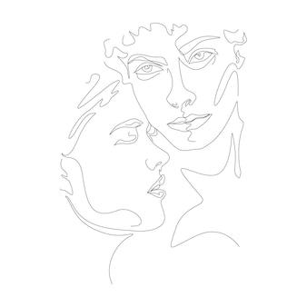 Desenho de uma linha minimalista ilustração de casal se beijando