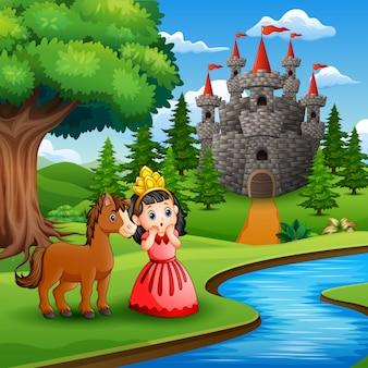 Desenho de uma menina princesa bonito com cavalo na página do castelo