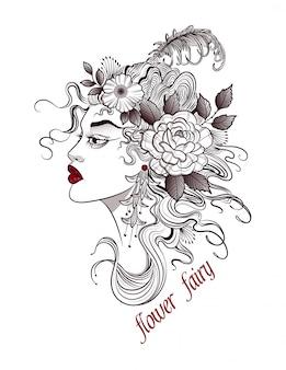 Desenho de uma mulher da floresta com um penteado de flores
