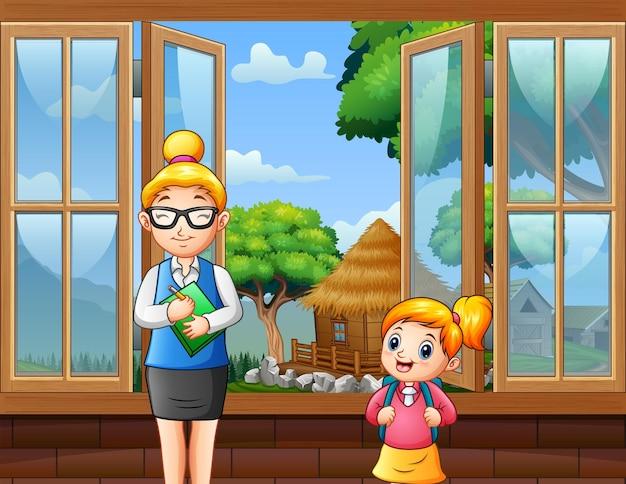 Desenho de uma professora e uma menina na sala de aula