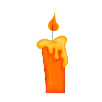 Desenho de uma vela em um fundo branco. conjunto de velas amarelas com chamas no estilo cartoon. ilustração vetorial.