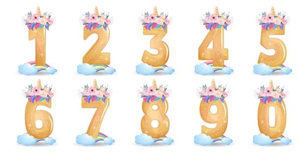 Desenho de unicórnio fofo com ilustração de conjunto de numeração