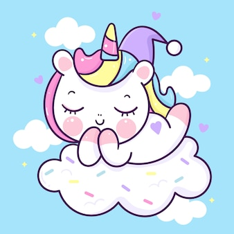 Desenho de unicórnio fofo dormindo em um animal kawaii da nuvem de doces
