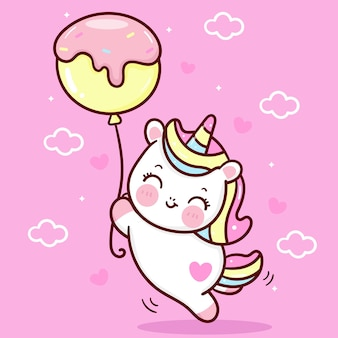 Desenho de unicórnio fofo holiding animal balão kawaii