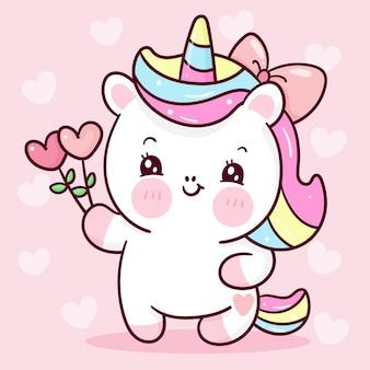 Desenho de unicórnio fofo segurando uma flor de coração para o animal kawaii do dia dos namorados