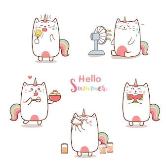 Desenho de unicórnio gato bonito para o verão.