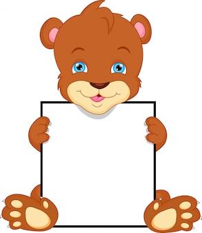 Desenho de urso bonito e sinal em branco
