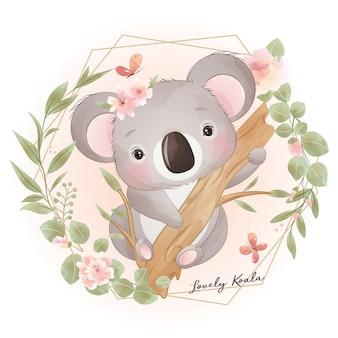 Desenho de urso coala fofo com ilustração floral