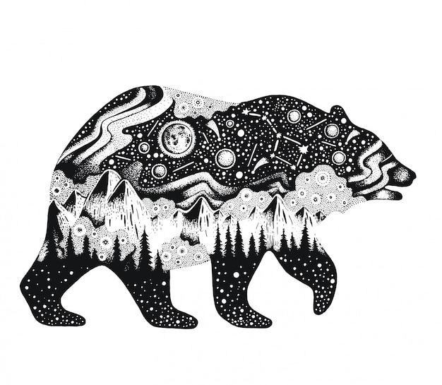 Desenho de urso com montanhas e florestas