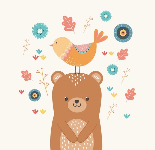Desenho de urso e pássaro