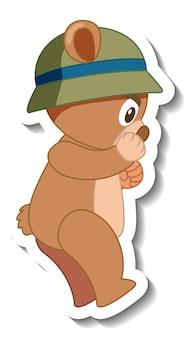 Desenho de urso fofo com chapéu e adesivo vista lateral