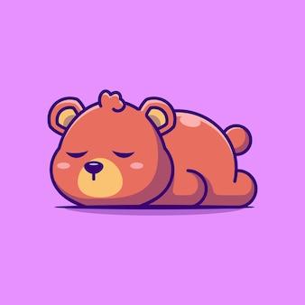 Desenho de urso fofo dormindo isolado em roxo