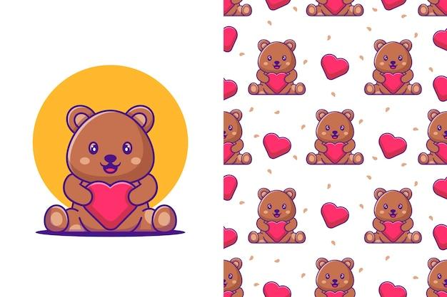 Desenho de urso fofo e amor com padrão sem emenda