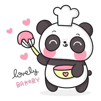Desenho de urso panda fofo com chapéu de chef cozinhando doce animal kawaii de padaria