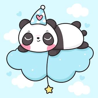 Desenho de urso panda fofo dormindo na nuvem segurando uma estrela, boa noite animal kawaii