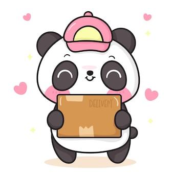 Desenho de urso panda fofo segurando uma caixa de entrega de animal kawaii
