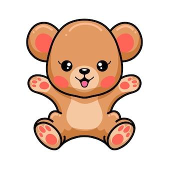Desenho de urso pardo bebê feliz