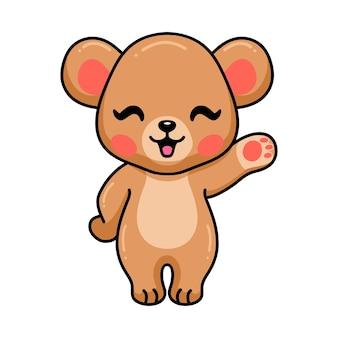 Desenho de urso pardo de bebê fofo acenando com a mão
