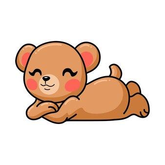 Desenho de urso pardo de bebê fofo deitado
