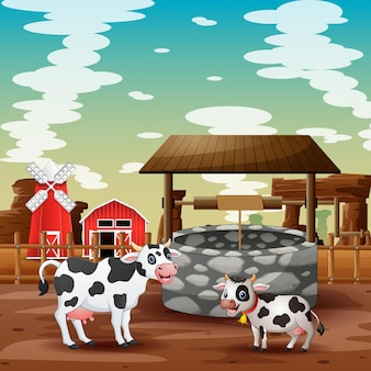 Desenho de vaca e bezerro com fundo de fazenda