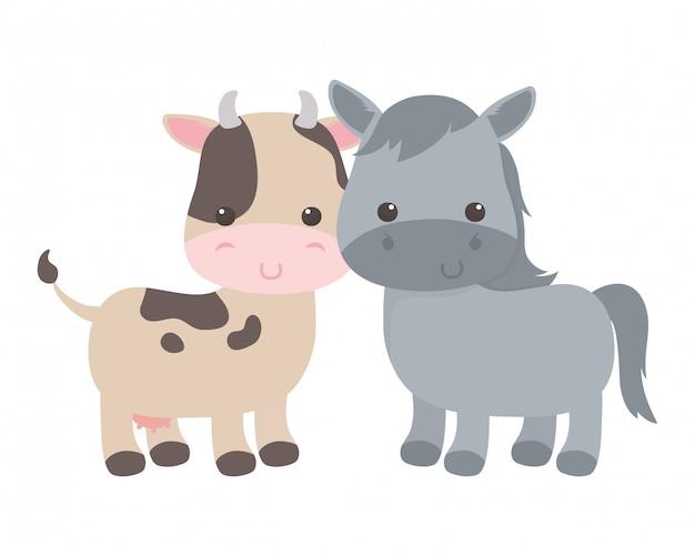 Desenho de vaca e burro isolado