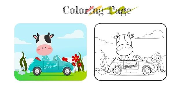 Desenho de vaca engraçada em carro azul com livro para colorir de fundo de natureza ou vetor de página premium