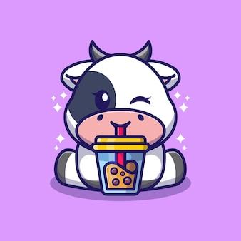 Desenho de vaca fofa bebendo leite com leite de boba