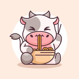 Desenho de vaca fofa comendo macarrão ramen