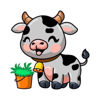 Desenho de vaca fofo com balde