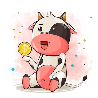 Desenho de vaca fofo e dinheiro, ilustração de moedas
