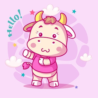 Desenho de vaca fofo para crianças Vetor Premium