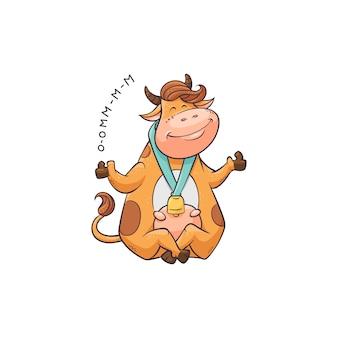 Desenho de vaca praticando meditação, animal engraçado sentado e sorrindo com os olhos fechados