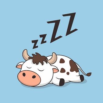 Desenho de vaca preguiçoso dormindo isolado em azul