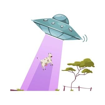 Desenho de vaca sequestrando alienígenas