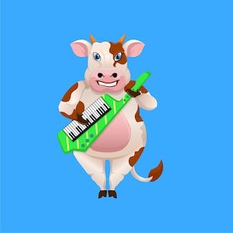 Desenho de vaca tocando keytar (teclado de guitarra)