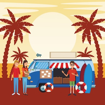 Desenho de van de viagem vintage
