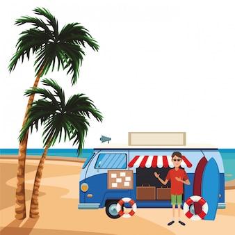 Desenho de van de viagem
