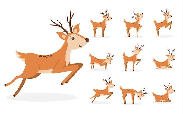 Desenho de veado bonito personagem para crianças desenho animal desenho em pé, pulando e pastando