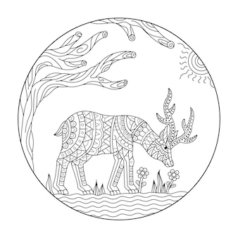 Desenho de veado em estilo zentangle