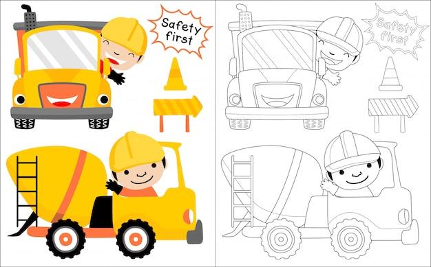 Desenho de veículo de construção com motorista feliz