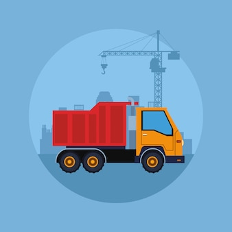 Desenho de veículo de construção