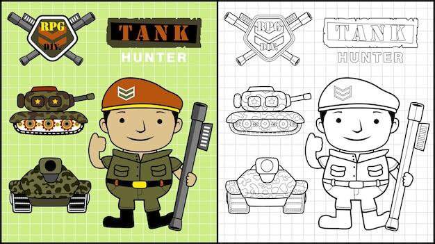 Desenho de veículos blindados com pistoleiro