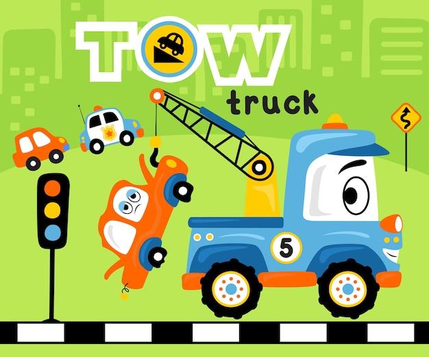 Desenho de veículos engraçados na estrada na construção de plano de fundo