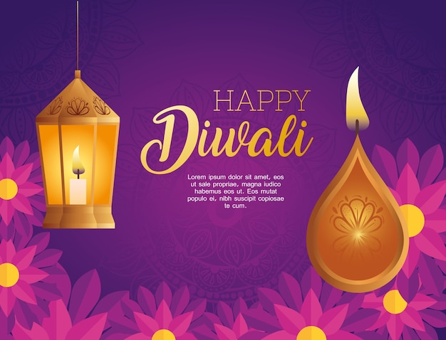 Desenho de vela e lanterna feliz diwali diya, tema do festival de luzes
